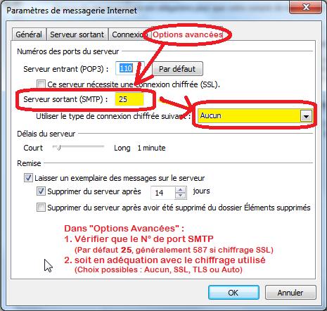 OutLook 2007 : Outils -> Compte de Messagerie... -> Modifier -> Paramètres Supplémentaires (Options Avancées)